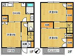 [テラスハウス] 千葉県船橋市上山町2丁目 の賃貸【/】の間取り