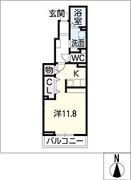 ベル フルール 1階ワンルームの間取り