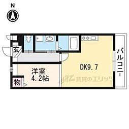 JR東海道・山陽本線 長岡京駅 徒歩7分の賃貸アパート 1階1DKの間取り