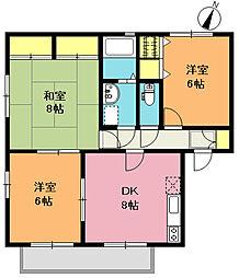 サニーサイドD棟[1階]の間取り