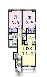 コッティ クワハラIII[1階]の間取り