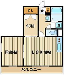 東京都府中市四谷1丁目の賃貸マンションの間取り