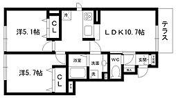 チェリーハウスII A棟[1階]の間取り