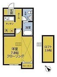 小田急小田原線 鶴川駅 徒歩7分の賃貸アパート 1階1Kの間取り