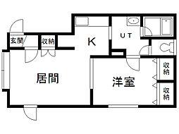 サクライハイムI 2階1LDKの間取り