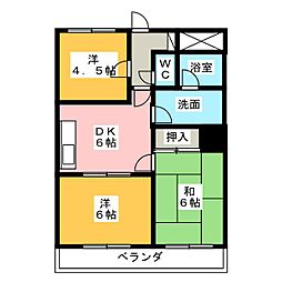 ハピネス関[4階]の間取り
