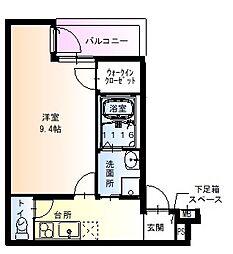 フジパレス太子橋V番館 3階1Kの間取り