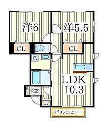 サンルーチェA[1階]の間取り