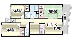 兵庫県神戸市北区広陵町1丁目の賃貸マンションの間取り
