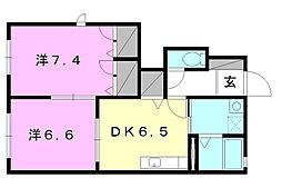 モダンヴィレッジA〜D棟[A101 号室号室]の間取り