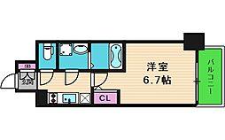 エスリード大阪上本町グリーズ 2階1Kの間取り