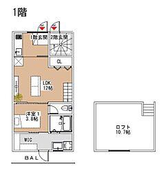 西鉄天神大牟田線 西鉄小郡駅 徒歩10分の賃貸アパート 1階1LDKの間取り