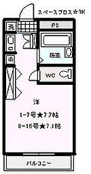 スペースブロス 4階ワンルームの間取り