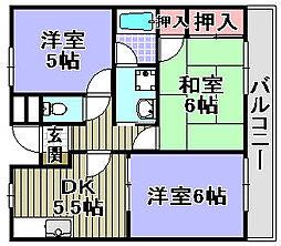 大阪府岸和田市上松町の賃貸アパートの間取り