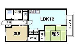 奈良県奈良市北之庄西町1の賃貸アパートの間取り