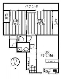 ひいらぎマンションNO.2[4階]の間取り