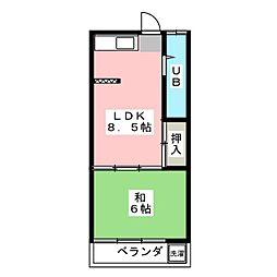 コーポ萩[1階]の間取り