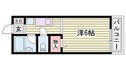 神鉄粟生線 広野ゴルフ場前駅 徒歩32分の賃貸アパート 1階ワンルームの間取り