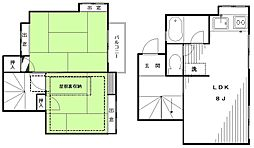 東急田園都市線 三軒茶屋駅 徒歩13分の賃貸テラスハウス 1階2SLDKの間取り