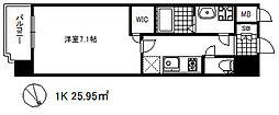 ワールドアイ神戸ハーバーランド 2階1Kの間取り