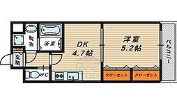 Osaka Metro長堀鶴見緑地線 今福鶴見駅 徒歩5分の賃貸マンション 4階1DKの間取り