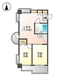 愛知県名古屋市北区鳩岡2の賃貸マンションの間取り