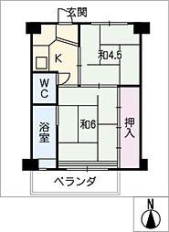 ビレッジハウス愛宕 1号棟[4階]の間取り