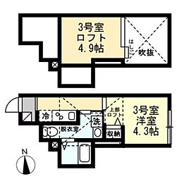 ベイルームセレスト蒲田 2階1Kの間取り