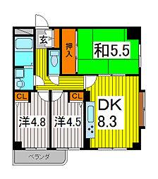 埼玉県川口市飯原町の賃貸マンションの間取り