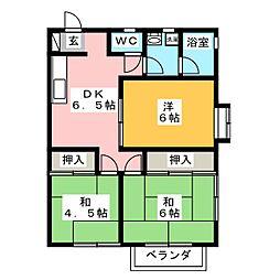 ハイツカレントD[1階]の間取り