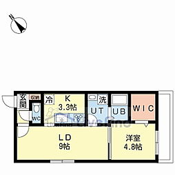 JR函館本線 白石駅 徒歩10分の賃貸マンション 2階1LDKの間取り