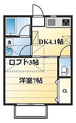 神奈川県厚木市下荻野の賃貸アパートの間取り