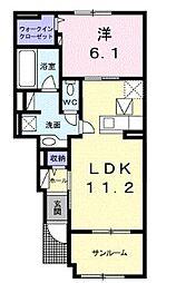 ブルームB 1階1LDKの間取り