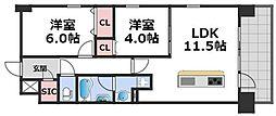 パラゴン梅南 11階2LDKの間取り