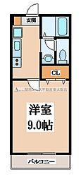 大阪府東大阪市御厨中2丁目の賃貸アパートの間取り