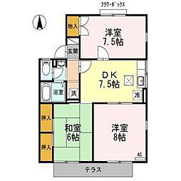 コーポ新稜B棟[1階]の間取り