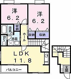 徳島県板野郡藍住町乙瀬字出来地の賃貸アパートの間取り