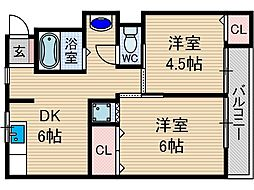 ナンノ第8号館[3階]の間取り
