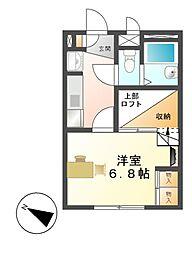 レオパレス桂[1階]の間取り