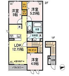 東京都西東京市芝久保町5丁目の賃貸アパートの間取り