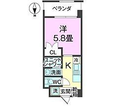 沖縄都市モノレール 壺川駅 徒歩29分の賃貸アパート 3階1Kの間取り