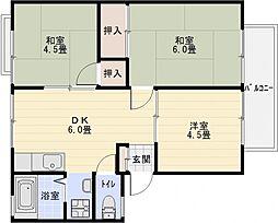 メロディーハイツ[1階]の間取り