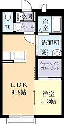 茨城県つくば市研究学園6丁目の賃貸アパートの間取り