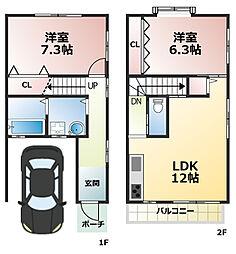 [テラスハウス] 兵庫県神戸市灘区青谷町4丁目 の賃貸【/】の間取り