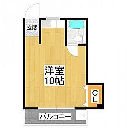 大阪府堺市東区西野の賃貸マンションの間取り