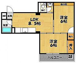 コーポイン松原[2階]の間取り
