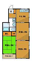東京都国分寺市光町の賃貸アパートの間取り