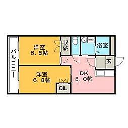 福岡県久留米市山川町の賃貸マンションの間取り
