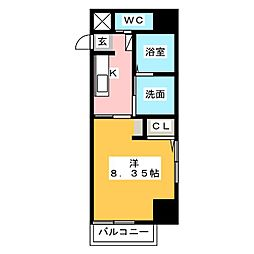 Field Village Hirosumi 4階1Kの間取り