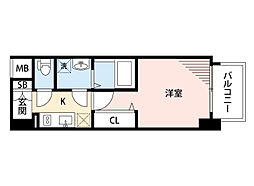 JR東海道・山陽本線 岸辺駅 徒歩4分の賃貸マンション 8階1Kの間取り